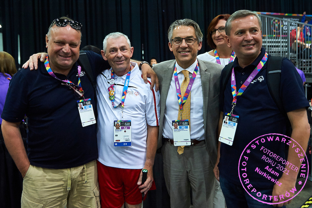 (L-R) Jaroslaw Duda and SO Poland athlete Michal Krcil and Mariusz Brymora and Tadeusz Tomaszewski while badminton competition during fifth day of the Special Olympics World Games Los Angeles 2015 on July 29, 2015 at Los Angeles Convention Centre in Los Angeles, USA.<br /> <br /> USA, Los Angeles, July 29, 2015<br /> <br /> Picture also available in RAW (NEF) or TIFF format on special request.<br /> <br /> For editorial use only. Any commercial or promotional use requires permission.<br /> <br /> Adam Nurkiewicz declares that he has no rights to the image of people at the photographs of his authorship.<br /> <br /> Mandatory credit:<br /> Photo by &copy; Adam Nurkiewicz / Mediasport