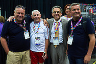 (L-R) Jaroslaw Duda and SO Poland athlete Michal Krcil and Mariusz Brymora and Tadeusz Tomaszewski while badminton competition during fifth day of the Special Olympics World Games Los Angeles 2015 on July 29, 2015 at Los Angeles Convention Centre in Los Angeles, USA.<br /> <br /> USA, Los Angeles, July 29, 2015<br /> <br /> Picture also available in RAW (NEF) or TIFF format on special request.<br /> <br /> For editorial use only. Any commercial or promotional use requires permission.<br /> <br /> Adam Nurkiewicz declares that he has no rights to the image of people at the photographs of his authorship.<br /> <br /> Mandatory credit:<br /> Photo by © Adam Nurkiewicz / Mediasport