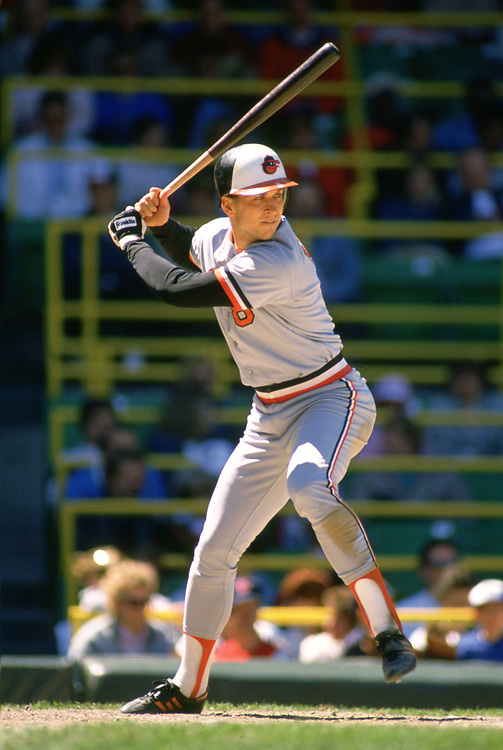 CHICAGO - 1986:  Cal Ripken Jr. of the Baltimore Orioles bats during an MLB game versus the Chicago White Sox at Comiskey Park in Chicago, Illinois during the 1986 season. (Photo by Ron Vesely).  Subject:   Cal Ripken Jr.