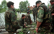 War in Croatia, Croatian soldiers are removing mines at the bank of Una river.Photo:Thomas Sjørup ©