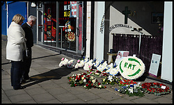 Flowers for the The funeral of the former general secretary of the RMT union Bob Crow  are left outside the undertakers in Woodford Green, North East, London, United Kingdom. Monday, 24th March 2014. Picture by Andrew Parsons / i-Images