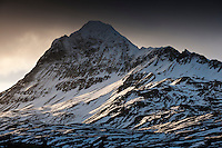 Falleg kvöldstemning í Öxnadal í janúar. Januar light in Öxnadalur valley, North Iceland.