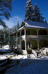 CA: Yosemite National Park, Lodge at Wawona in winter               .Photo Copyright: Lee Foster, lee@fostertravel.com, www.fostertravel.com, (510) 549-2202.cayose225