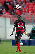 SYDNEY, NSW - FEBRUARY 24: Western Sydney Wanderers forward Abraham Majok (49) heads the ball at round 20 of the Hyundai A-League Soccer between Western Sydney Wanderers FC and Perth Glory on February 24, 2019 at Spotless Stadium, NSW. (Photo by Speed Media/Icon Sportswire)