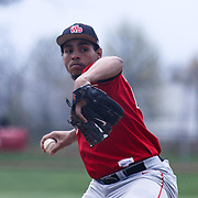 William Penn Pitcher Dizhae Henriquez (24) throws a pitch during of a varsity scheduled game between the Colonials of William Penn and The St. Elizabeth Vikings Saturday, April 25, 2015, at William Penn High School baseball field in New Castle Delaware.<br /> <br /> William Penn defeats St. Elizabeth 6-5
