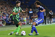 George Francomb of AFC Wimbledon and Fabio Da Silva during the Capital One Cup match between Cardiff City and AFC Wimbledon at the Cardiff City Stadium, Cardiff, Wales on 11 August 2015. Photo by Stuart Butcher.