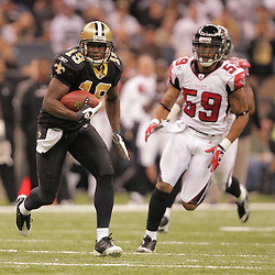 2008 December, 07: New Orleans Saints wide receiver Devery Henderson (19) runs away from Falcons defender Michael Boley (59) during a 29-25 victory by the New Orleans Saints over NFC South divisional rivals the Atlanta Falcons at the Louisiana Superdome in New Orleans, LA.