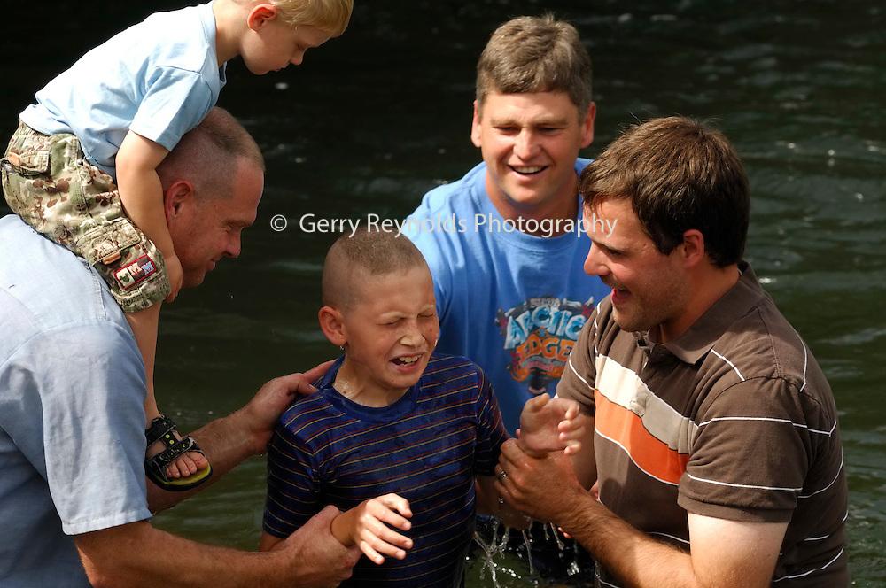 Baptize, Baptized, Water, Religion, Religious, Christian, Ceremony, Celebration, Father and Sons, Father and Son, Father, Son, Boy, Child, Children, Baptism, Salmon River, Idaho