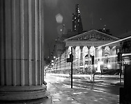 The Royal Exchange, tracers of light from passing traffic<br /> <br /> February 2017