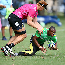 DURBAN, SOUTH AFRICA - APRIL 10: Philip van der Walt of the Cell C Sharks tackling Makazole Mapimpi of the Cell C Sharks during the Cell C Sharks training session at Jonsson Kings Park on April 10, 2018 in Durban, South Africa. (Photo by Steve Haag/Gallo Images)