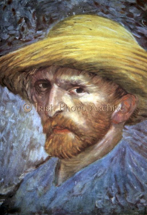 Self-Portrait with Straw Hat', 1887.  Vincent Van Gogh (1853-1890) Dutch Post-Impressionist artist.