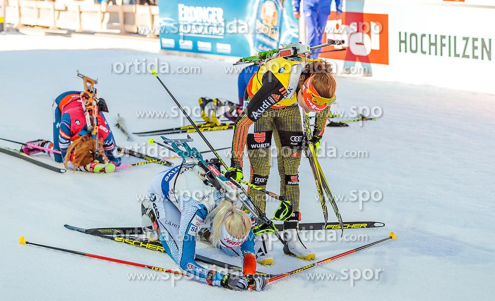 19.02.2017, Biathlonarena, Hochfilzen, AUT, IBU Weltmeisterschaften Biathlon, Hochfilzen 2017, Massenstart Damen, im Bild Gabriela Koukalova (CZE), Kaisa Makarainen (FIN), Laura Dahlmeier (GER) // Gabriela Koukalova of Czech Republic Kaisa Makarainen of Finland Laura Dahlmeier of Germany during Womens Masstart of the IBU Biathlon World Championships at the Biathlonarena in Hochfilzen, Austria on 2017/02/19. EXPA Pictures © 2017, PhotoCredit: EXPA/ JFK