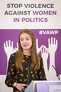 Jasmin Beckett, National Executive Committee Youth Representative, Labour Party) Session 5: HOW WOMEN IN PARTY YOUTH WINGS ARE AFFECTED 'Violence Against Women in Politics' Conference, organised by all the UK political parties in partnership with the Westminster Foundation for Democracy, 19th and 20th of March 2018, central London, UK.  (Please credit any image use with: © Andy Aitchison / WFD
