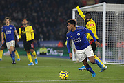 James Justin (2) of Leicester City clears the ball during the Premier League match between Leicester City and Watford at the King Power Stadium, Leicester, England on 4 December 2019.