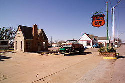 Old Cottage Style Phillips 66 Service Station, along Old US Route 66 in Chandler Oklahoma