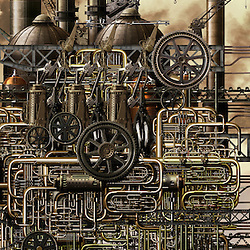 Illustration of an Industrial nightmare highlighting the effects of pollution and global warming by heavy industry