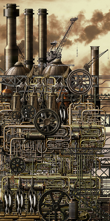 IT magazine illustration depicting an industrial dystopia of pollution and climate change by heavy industry. Image created with over 20,000 original illustrations and photo-composite elements