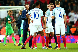 England Manager Gareth Southgate congratulates his side after the win against Slovenia and sealing a place at the 2018 World Cup in Russia - Mandatory by-line: Robbie Stephenson/JMP - 05/10/2017 - FOOTBALL - Wembley Stadium - London, United Kingdom - England v Slovenia - World Cup qualifier