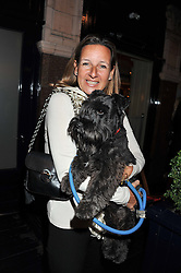 CINDY LASS and her dog Flash at The Dog's Trust Awards announcement held at George, 87-88 Mount Street, London on 27th March 2012.