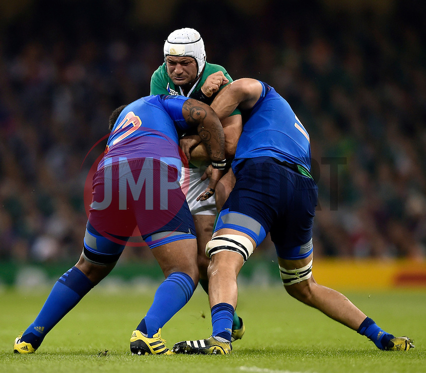 Rory Best of Ireland is double-tackled - Mandatory byline: Patrick Khachfe/JMP - 07966 386802 - 11/10/2015 - RUGBY UNION - Millennium Stadium - Cardiff, Wales - France v Ireland - Rugby World Cup 2015 Pool D.
