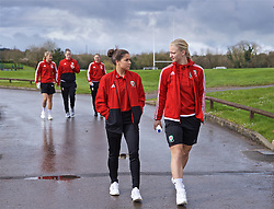 CARDIFF, WALES - Thursday, April 4, 2019: Wales' Ffion Morgan (L) an Elise Hughes during a pre-match team walk at the Vale Resort ahead of an International Friendly match between Wales and Czech Republic at Rodney Parade. (Pic by David Rawcliffe/Propaganda)