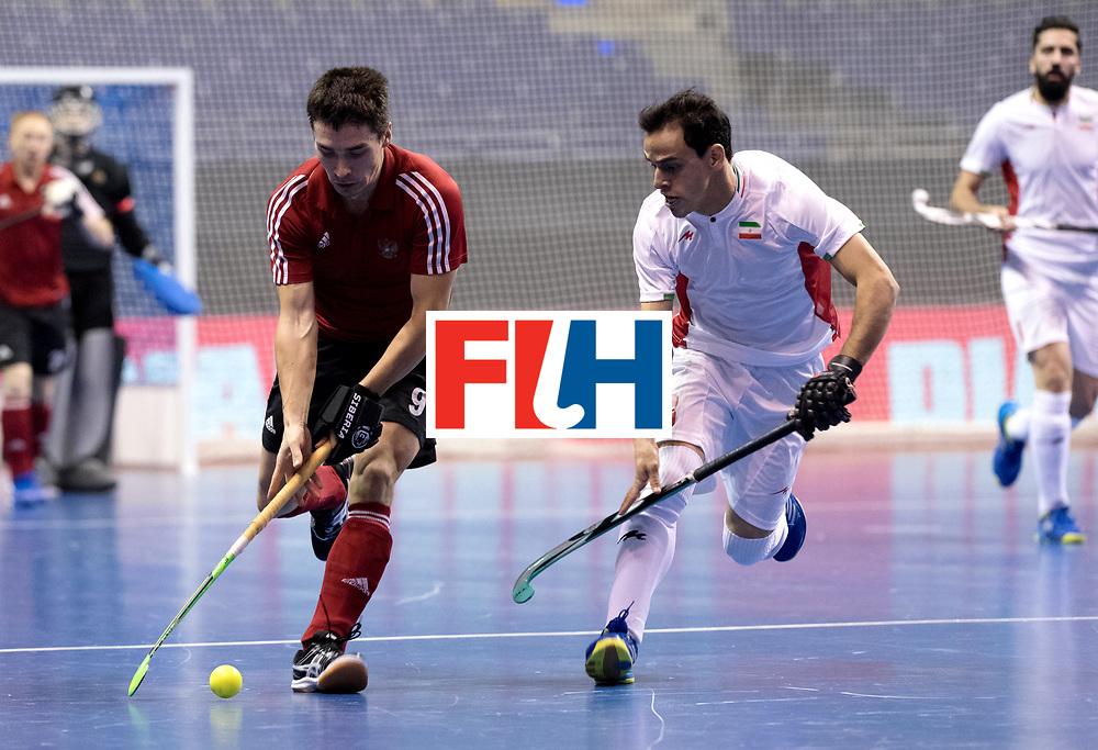 BERLIN - Indoor Hockey World Cup<br /> Men: Iran - Russia<br /> foto: VAKHMISTROV Evgenyn and BOHLOULI Mohsen.<br /> WORLDSPORTPICS COPYRIGHT FRANK UIJLENBROEK