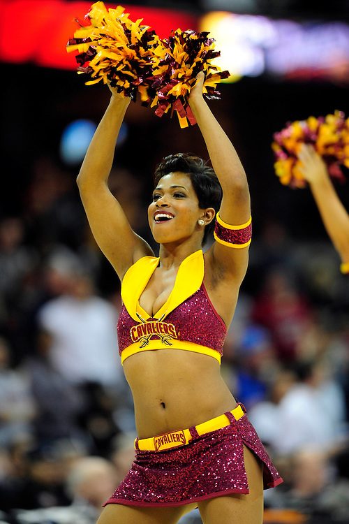 Feb. 9, 2011; Cleveland, OH, USA; A Cleveland Cavaliers cheerleader during the fourth quarter against the Detroit Pistons at Quicken Loans Arena. The Pistons beat the Cavaliers 103-94 for Cleveland's 26th loss in a row. Mandatory Credit: Jason Miller-US PRESSWIRE