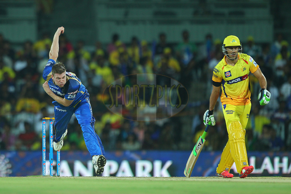 James Faulkner of the Rajasthan Royals  during match 47 of the Pepsi IPL 2015 (Indian Premier League) between The Chennai Superkings and The Rajasthan Royals held at the M. A. Chidambaram Stadium, Chennai Stadium in Chennai, India on the 10th May 2015.<br /> <br /> Photo by:  Ron Gaunt / SPORTZPICS / IPL