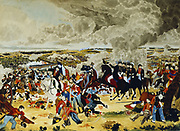 Battle of Waterloo 18 June 1815. Wellington with his Staff doffing his hat (to Blucher?). Watercolour sketch by Joh Atkinson published in The Sunday Times, 21 July 1888.
