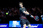 Andy Murray prepares to hit a topspin backhand during the Andy Murray Live event at SSE Hydro, Glasgow, Scotland on 7 November 2017. Photo by Craig Doyle.