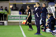 AFC Wimbledon manager Neal Ardley looking on during the EFL Cup match between AFC Wimbledon and Brentford at the Cherry Red Records Stadium, Kingston, England on 8 August 2017. Photo by Matthew Redman.