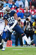 NASHVILLE, TN - OCTOBER 25:  Wesley Woodyard #59 of the Tennessee Titans celebrates after making a tackle during a game against the Atlanta Falcons at Nissan Stadium on October 25, 2015 in Nashville, Tennessee.  The Falcons defeated the Titans 10-7.  (Photo by Wesley Hitt/Getty Images) *** Local Caption *** Wesley Woodyard