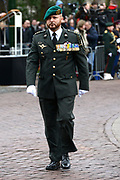 In Den Haag, op Plein 1813 vindt een vaandelgroet plaats van de Koninklijke Landmacht aan Koning Willem-Alexander. De vaandelgroet is tevens de aftrap van het 200-jarig jubileum van de Koninklijke Landmacht. <br /> <br /> In The Hague, on Plein 1813 a banner greeting takes place from the Royal Army of King Willem-Alexander. The standard greeting is also the kickoff of the 200th anniversary of the Royal Army.<br /> <br /> Op de foto / On the Photo:  Marco Kroon, drager van de Militaire Willems-Orde
