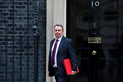 © Licensed to London News Pictures. 24/04/2018. London, UK. Secretary of State for International Trade Liam Fox leaves 10 Downing Street after the weekly Cabinet meeting. Photo credit: Rob Pinney/LNP