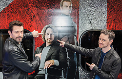 (L-R) Hugh Jackman & James McAvoy present the movie X-Men: Days of Future Past, in partnership with virgin trains. Euston Station, London, United Kingdom. Monday, 31st March 2014. Picture by Daniel Leal-Olivas / i-Images