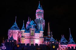 Sleeping Beauty's Castle at night, Disneyland, Anaheim, California, United States of America