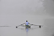 Henley, Great Britain,  General Views,  Henley Reach,   Single and Double scull trainging in the early morning ground mist, Henley on Thames Oxfordshire, Great Britain. Thursday,  21/01/2010. [Mandatory Credit. Peter Spurrier/Intersport Images]