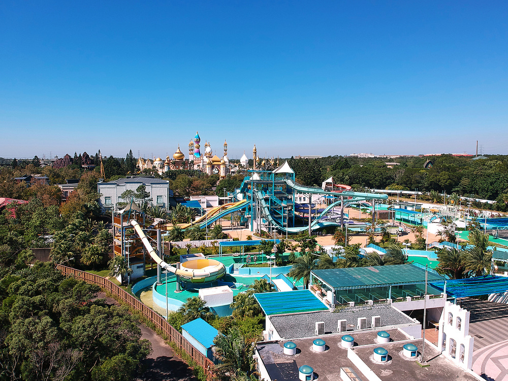 Leofoo Village water park pictured in the foreground, with the accompanying amusement park in the background.<br /> <br /> Editors Note: A drone was used for this picture.