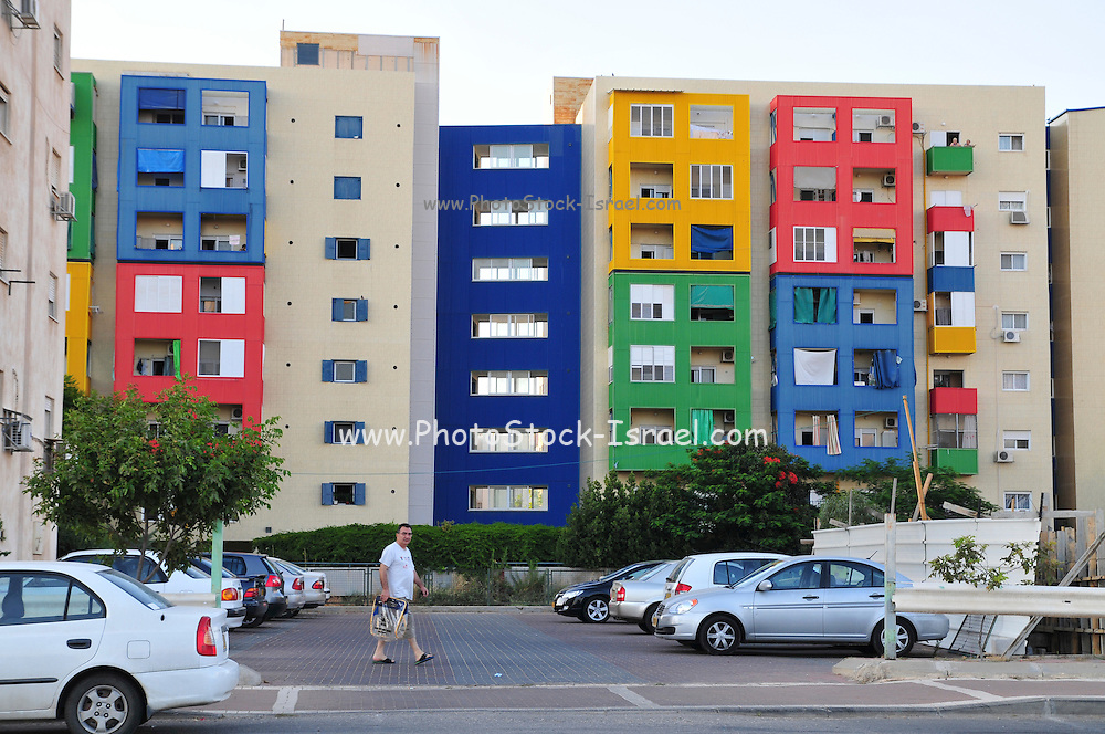 Israel, Jezreel Valley, Afula Colourful buildings