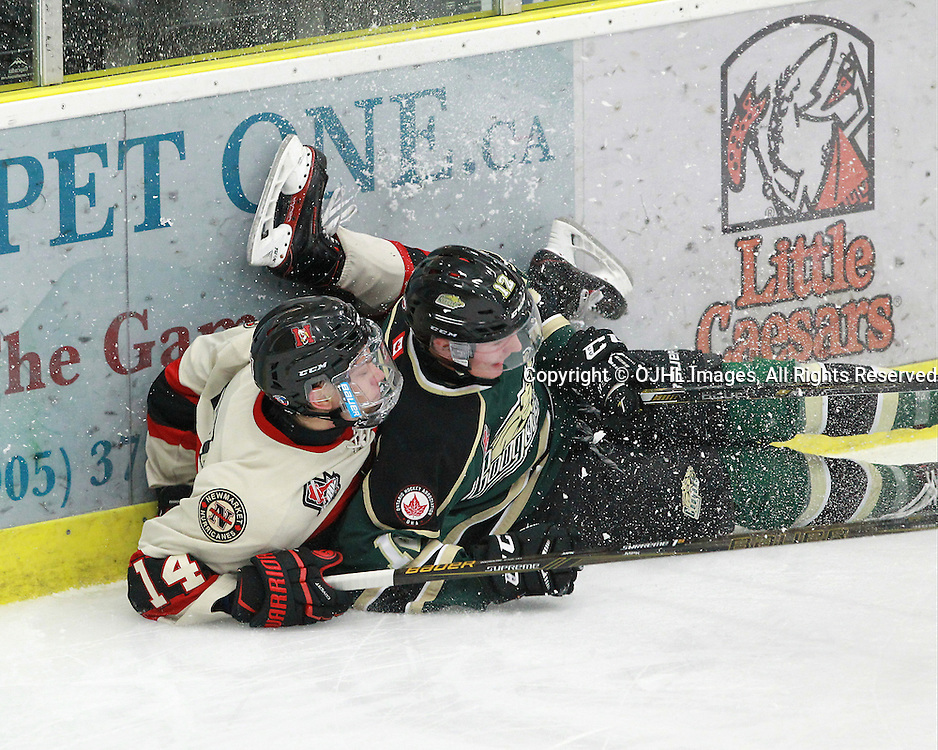 COBOURG, ON  - OCT 3,  2016: Ontario Junior Hockey League game between Newmarket and Cobourg, Marco Bozzo #14 of the Newmarket Hurricanes and Jesse Baird #12 of the Cobourg Cougars collide into the boards during the first period.<br /> (Photo by Tim Bates / OJHL Images)