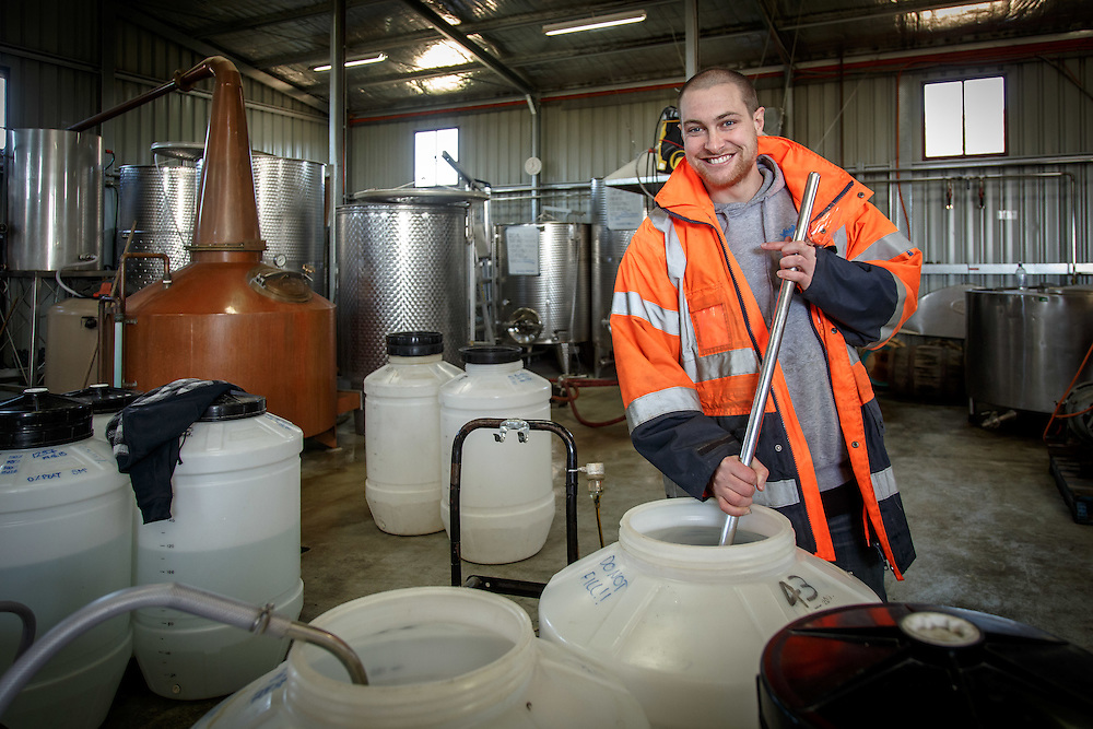 Lark Distillery master distiller Chris Thompson agitates a distilling run at Lark Distillery in Hobart, Tasmania, August 25, 2015. Gary He/DRAMBOX MEDIA LIBRARY