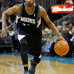 February 7, 2011; New Orleans, LA, USA; Minnesota Timberwolves shooting guard Corey Brewer (22) against the New Orleans Hornets during the third quarter at the New Orleans Arena. The Timberwolves defeated the Hornets 104-92.  Mandatory Credit: Derick E. Hingle