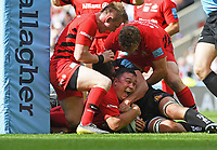 Rugby Union - 2019 Gallagher Premiership Final - Exeter Chiefs vs Saracens<br /> <br /> Saracens' Jamie George scores their fifth try, at Twickenham Stadium.  <br /> <br /> COLORSPORT / ALAN WALTER
