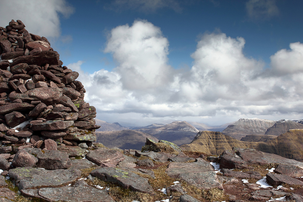 The cairn that marks the summit of Sgurr Mor, one of the munro peaks of Beinn Alligin, near Torridon in the north-west Highlands of Scotland
