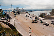 View of American Civil Constructors surfacing work at the Treasure Island Tunnel during the closure of the Bay Bridge. Labor day bridge closure Thursday August 29, Friday August, 30, 2013. With ACC road crews.