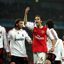 LONDON, ENGLAND - Wednesday, February 20, 2008 : Arsenal's Matthieu Flamini asks for more support from the crowd against AC Milan during the UEFA Champions 1st Knockout Round, 1st Leg match at The Emirates Stadium. (Photo by Chris Ratcliffe/Propaganda)