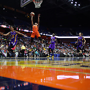 UNCASVILLE, CONNECTICUT- MAY 26:  Jasmine Thomas #5 of the Connecticut Sun scores two points during the Los Angeles Sparks Vs Connecticut Sun, WNBA regular season game at Mohegan Sun Arena on May 26, 2016 in Uncasville, Connecticut. (Photo by Tim Clayton/Corbis via Getty Images)