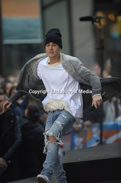 Nov. 18, 2015 - New York, NY, USA - <br /> <br /> Justin Bieber performing in concert on NBC TODAY at Rockefeller Plaza<br /> &copy;Exclusivepix Media