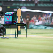 LONDON, ENGLAND - JULY 15:  The towel of Venus Williams of The United States on her chair before the start of the Ladies Singles Final in the Wimbledon Lawn Tennis Championships at the All England Lawn Tennis and Croquet Club at Wimbledon on July 15, 2017 in London, England. (Photo by Tim Clayton/Corbis via Getty Images)