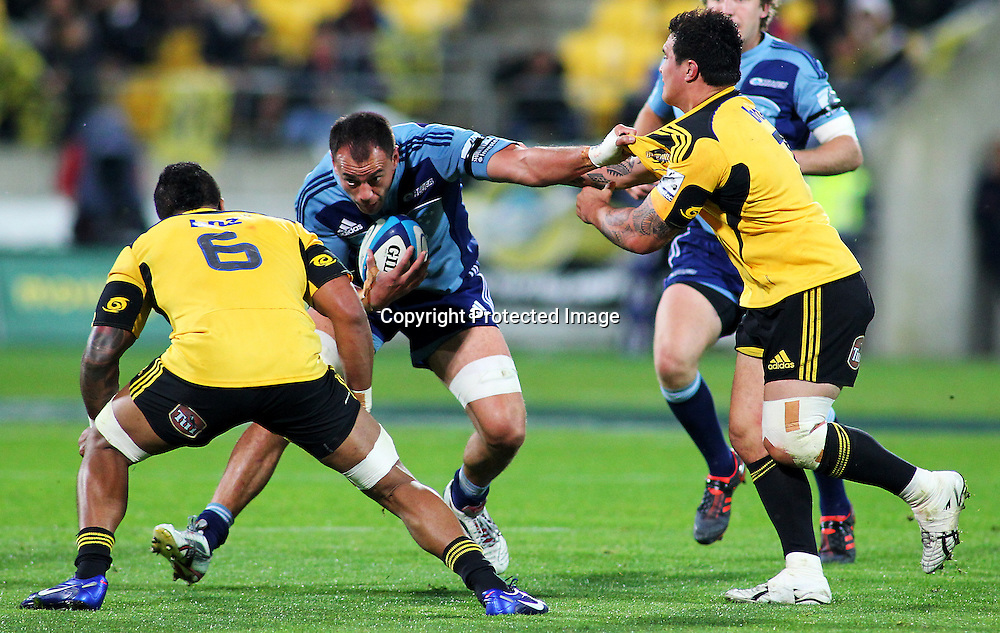 Blues' Chris Lowrey with ball in hand during their Super Rugby match, Hurricanes v Blues, Westpac stadium, Wellington, New Zealand. Friday 4 May 2012.  PHOTO: Grant Down / photosport.co.nz